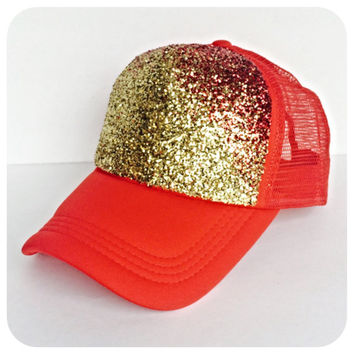 Gold and Red Ombre Glitter Hat