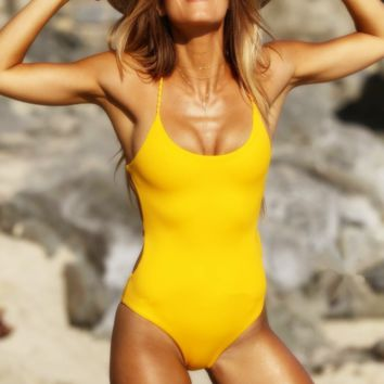 New summer fashion solid color straps one piece bikini swimsuit Yellow
