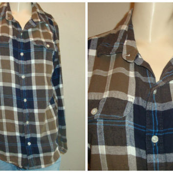 vintage plaid button up brown blue black white small medium soft comfy FLANNEL shirt women unisex hipster grunge