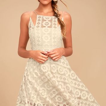 Free People Just Like Honey Beige Lace Dress