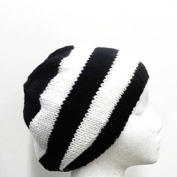 Knitted beanie black and white stripes, handmade  4751