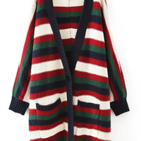 Multi Color Striped Single Buttoned Knit Coat