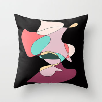 Abstract 1 (Black) Throw Pillow by DuckyB (Brandi)