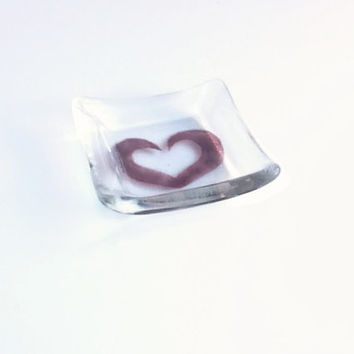 Glass Ring Dish - Ring Holder - Fused Glass - Heart Dish