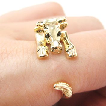 Cow Bull Shaped Animal Wrap Around Ring in Shiny Gold | US Sizes 4 to 9