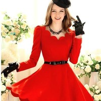 A-Line Above Knee Red Vintage Dress - Sheinside.com