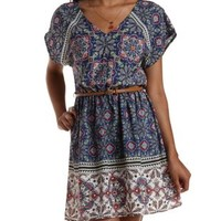 Navy Combo Belted Border Print Dress by Charlotte Russe