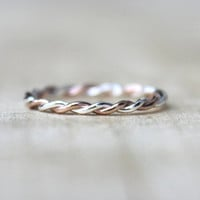 Rose Gold Twist Ring 2 Tone Stackable Ring karma by BlueSunflowers
