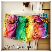 Rainbow Studded Jean Shorts  by SheaBoutique on Etsy