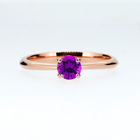 Amethyst solitaire engagement ring made from Rose gold, Amethyst engagement, purple, thin engagement, yellow gold, solitaire ring, unique
