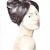 Original watercolor painting Asian woman looking over her shoulder