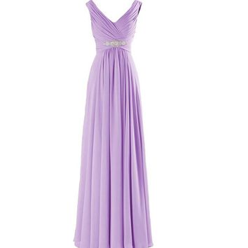 Bridesmaid Dresses Long Lavender Chiffon V Necked Pleated Sexy Prom Dress Lavender Bridesmaid Gowns Pink Yellow Orange Mint
