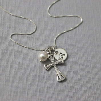Personalized Cross Necklace, Sterling Silver Cross Necklace, Tiny Cross Necklace