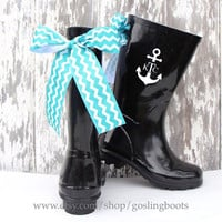 Girls Custom Black Gloss Rain Boots with Chevron Bows