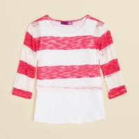 AQUA Girls' Stripe Slub Knit Top - Sizes 4-6X