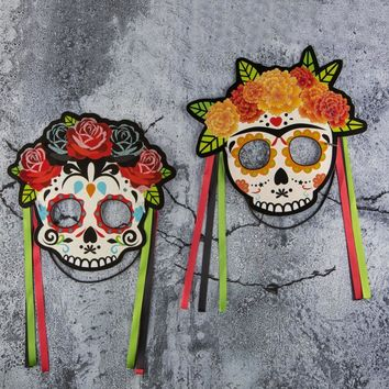 Set of 4 Fun Skull Glitter Elastic Mask Day of the Dead Decoration Kids Adult Toys Birthday Halloween Party Supplies New Arrival