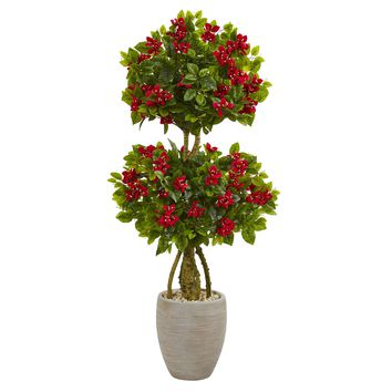 Artificial Tree -4.5 Foot Double Bougainvillea Topiary Tree-Oval Planters