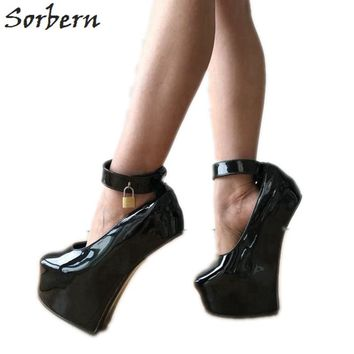 Sorbern Sexy Fetish Heelless Pumps Locks Ankle Strap Hoof Sole Platform Pump Lockable Padlock Strap Patent Black Shoes Women New