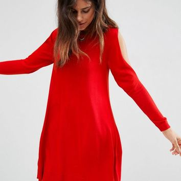 ASOS Dress in Knit with Cold Shoulder Detail at asos.com