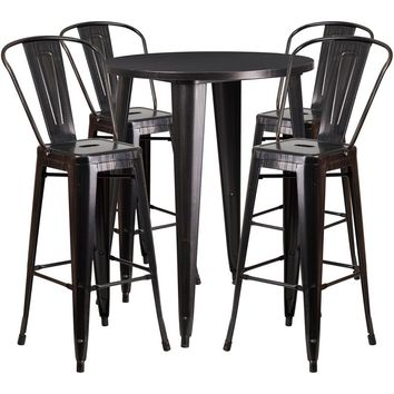 30'' Round Black-Antique Gold Metal Indoor-Outdoor Bar Table Set with 4 Cafe Stools [CH-51090BH-4-30CAFE-BQ-GG]