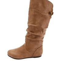 Slouchy Flat Knee-High Boots by Charlotte Russe - Taupe
