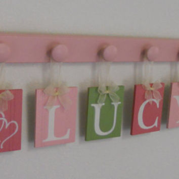 Childrens Personalized Decor Name Signs Includes 6 Peg Hooks and Babies Name LUCY with HEARTS Pinks and Green. Baby Girls Room Wall Decor