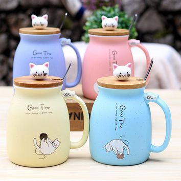 1 Pc Cartoon Cat Print Ceramic Heat-Resistant Cup with Lid 4 Styles/Colors