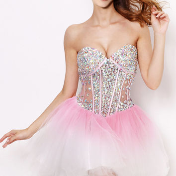 2015 Sexy Sweetheart Rhinestones Crystal Beaded Pink Corset Homecoming Dresses Short Cocktail Dresses 21062