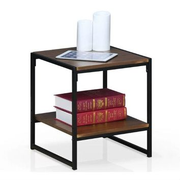 Modern Metal Frame End Table Nightstand Side Table with Brown Wood Top