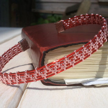 Red Wire Wrapped Bangle - Woven Bangle - Wire Wrapped Jewellery Handmade - Wire Jewellery - Wire Bangle - Wire Bracelet
