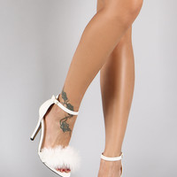 Vegan Leather Faux Fur Band Single Sole Ankle Strap Heel