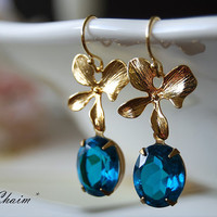Delicate 16K Gold Plated Orchid Flower Vintage Teal Blue Unfoiled Glass Jewels  Earrings