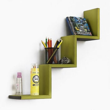 Moss Green Ladder-Shaped Leather Shelf / Bookshelf / Floating Shelf (TRI-WS062-WAV)
