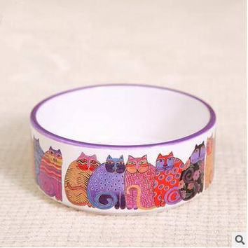 Cat Art Ceramic Feeding Bowls