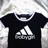 SWEET LORD O'MIGHTY! BABYGIRL RINGER TEE IN BLACK