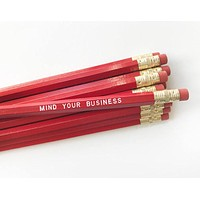 Mind Your Business Pencil Set in Red