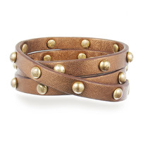C+I Studded Leather Wrap Bracelet