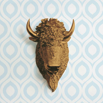 The Yellowstone Bronze Faux Bison Head