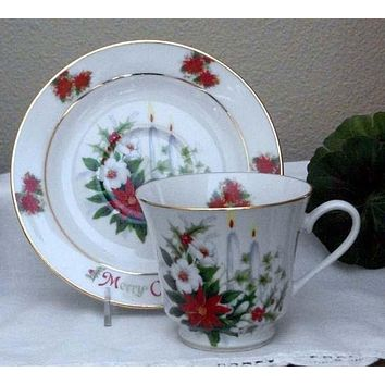 Catherine Porcelain Tea Cup and Saucer Set of 2 - Christmas Candles