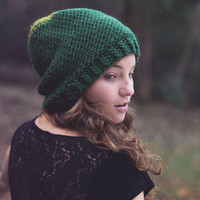 Bicolor Knitted Slouchy Hat