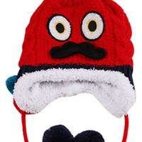 Sweet Mustache Pompons Earflap Baby's Cable Knit Beanie