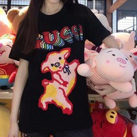 """""""Gucci"""" Women Casual Fashion Multicolor Sequin Letter Cute Cartoon Embroidery Pig Short Sleeve T-shirt Top Tee"""