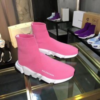 Balenciaga Speed Trainers In Pink Knit And White/black Sole Unit - Best Online Sale