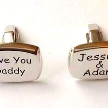 Personalized Cufflinks ~ Fathers Day Gift ~ Love You Daddy and Kids Names Cufflinks ~ Sterling Silver Cufflinks ~ Silver ~ Gift for Daddy