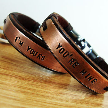 FREE SHIPPING - Couple Bracelet.Men's Bracelet,Leather Men Bracelet,Men and Women Gift. Men Bracelet.  Personalized Bracelet .Tumbled copper