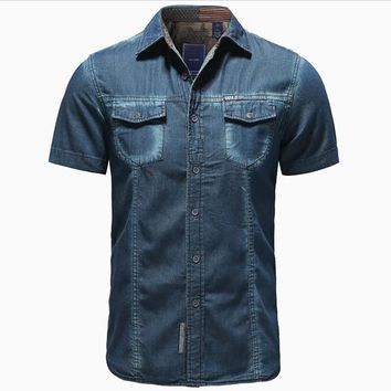 2017 Summer Printed Casual Menswear 100% Cotton Denim Short Sleeve Shirt , Male Man XXL XL  Jeans Shirts BLouse For Men