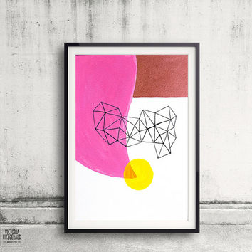 Hot Pink and Copper Abstract Wall Art, Geometric Triangle Shapes, Minimalist lines, Urban Art