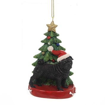 Holiday Ornaments DOG W/CHRISTMAS TREE Pet Puppy Best Friend C7615 Pug Blk