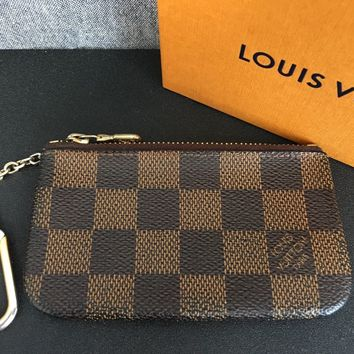 Auth LOUIS VUITTON Pochette Cles N62658 Ebene Damier Canvas Coin Case