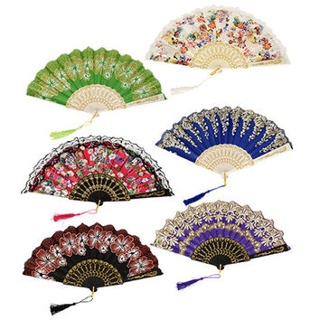 Bulk Brightly-Colored Foldable Fans with Glitter Accents, 17 in. at DollarTree.com